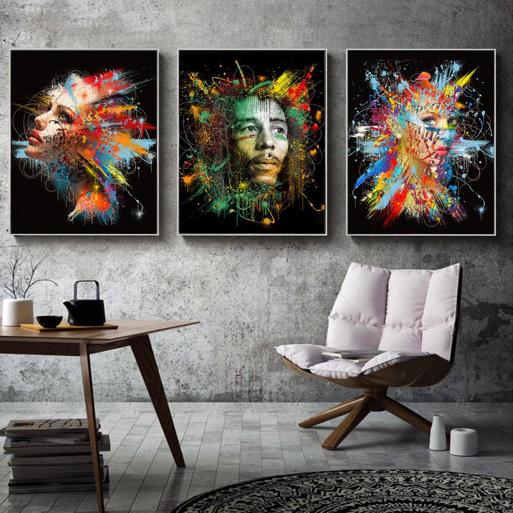 AAVV mur Art peinture toile impression Animal Figure photo coloré affiche salon décor à la maison pas de cadre