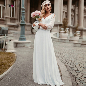 Simple White Wedding Dress Boho Ever Pretty Elegant A-Line V-Neck Chiffon Long Sleeve Robe  Bridal Gown Bride To Be 2021