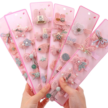 5Pcs/Set Sweet Princess Baby Hairpin Girls Animal Style Bangs Clip Kids Solid Color Cute Bows Hair Clip Baby Hair Accessories