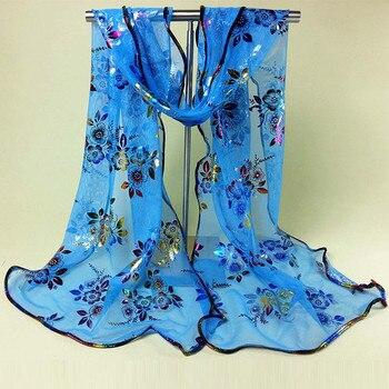 Bufandas con estampado floral rojo oscuro y lentejuelas, bufandas Vintage con flores coloridas, gasa con encaje, velo, chal, bufanda, accesorios para mujer
