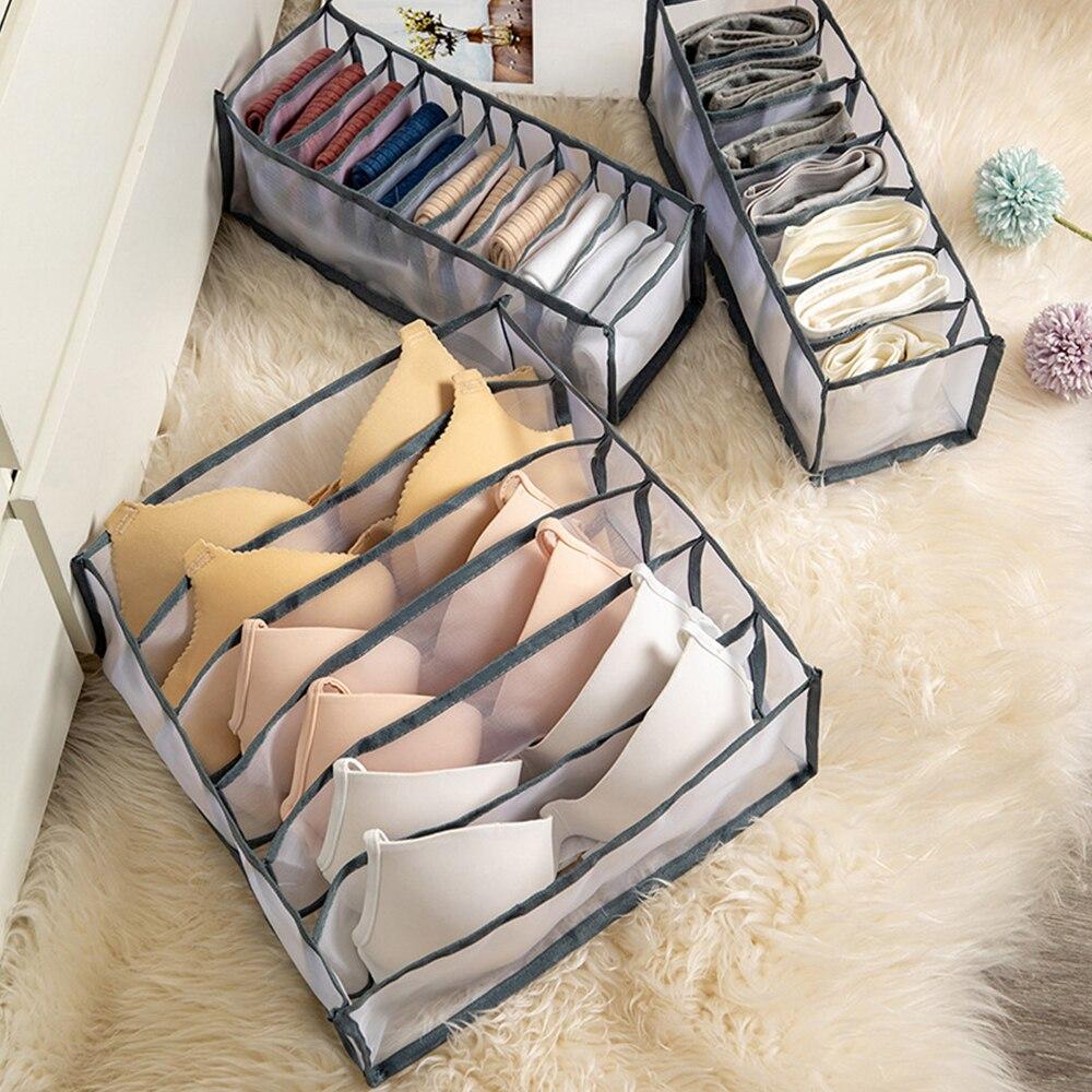 Tragbare Multi-Grids Unterwäsche Lagerung Box Bh Unterhose Organizer Gitter Mesh Schublade Ordentlich Divider Praktische Raster Unterwäsche