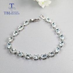 TBJ, Brazil Light blue aquamarine Gemstone bracelet oval 5*7mm 17 pcs 15ct natural gemstone Jewelry 925 sterling silver for lady