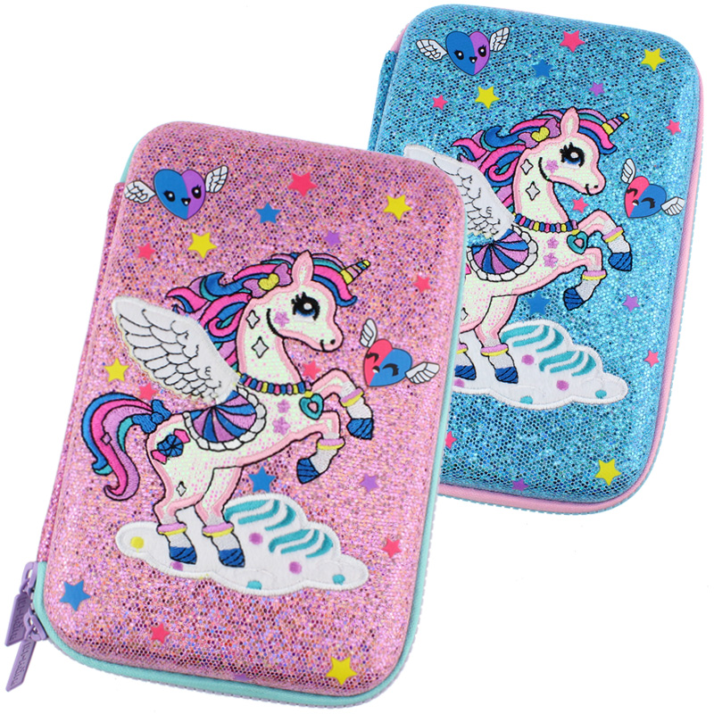 Kawaii Pencil Case Girl Cartoon School Pen Box Unicorn Bright Powder Stationery Box Big Pen Case Leather Back To School Supplies