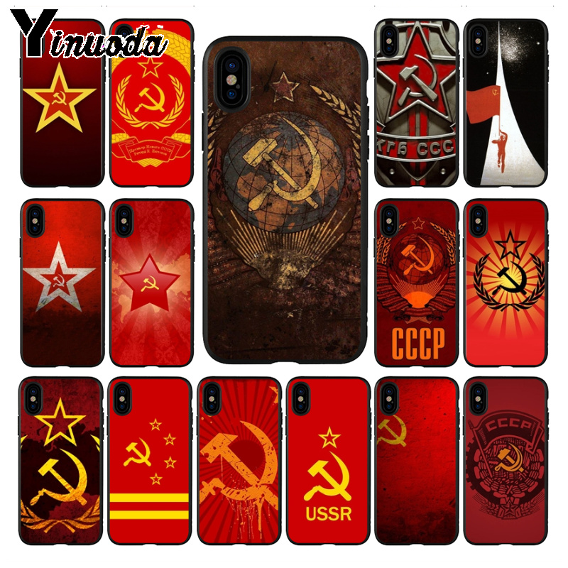 Yinuoda Soviet Union USSR Grunge Flag Painted cover Phone <font><b>Case</b></font> for <font><b>iPhone</b></font> 7plus X XS MAX <font><b>XR</b></font> 6S 7 8 8Plus 5 5S 11 11pro max <font><b>case</b></font> image