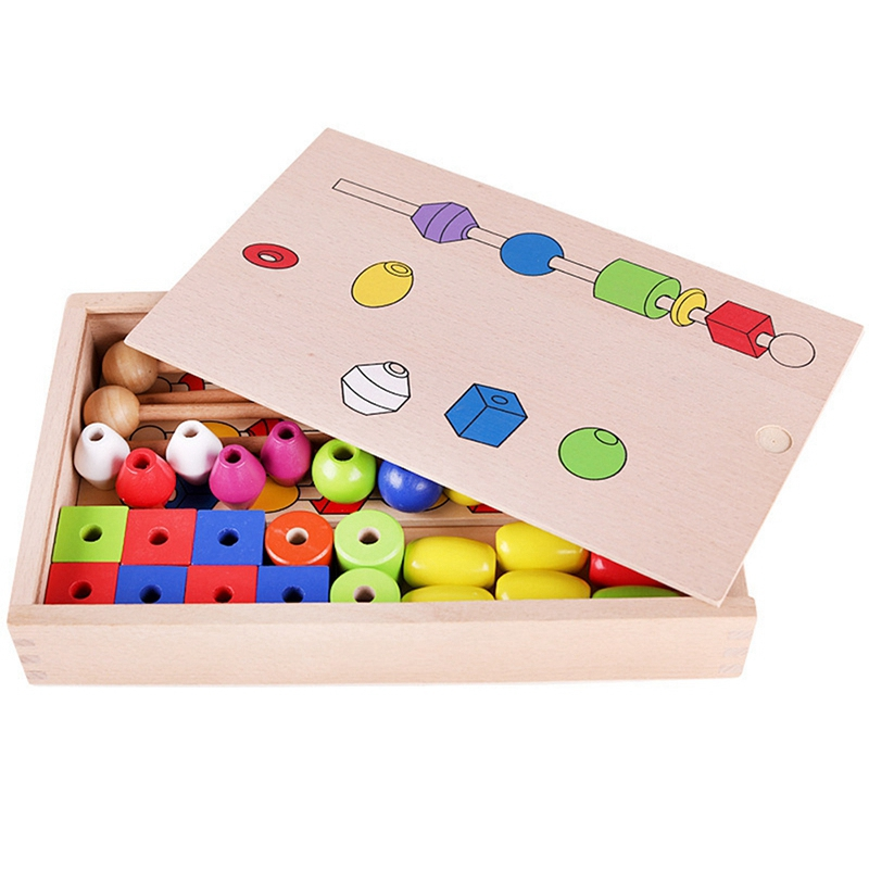 Early Education Puzzle Beaded Box Children'S Enlightenment Fine Action Training Wooden Stick Wearing Beaded Toy