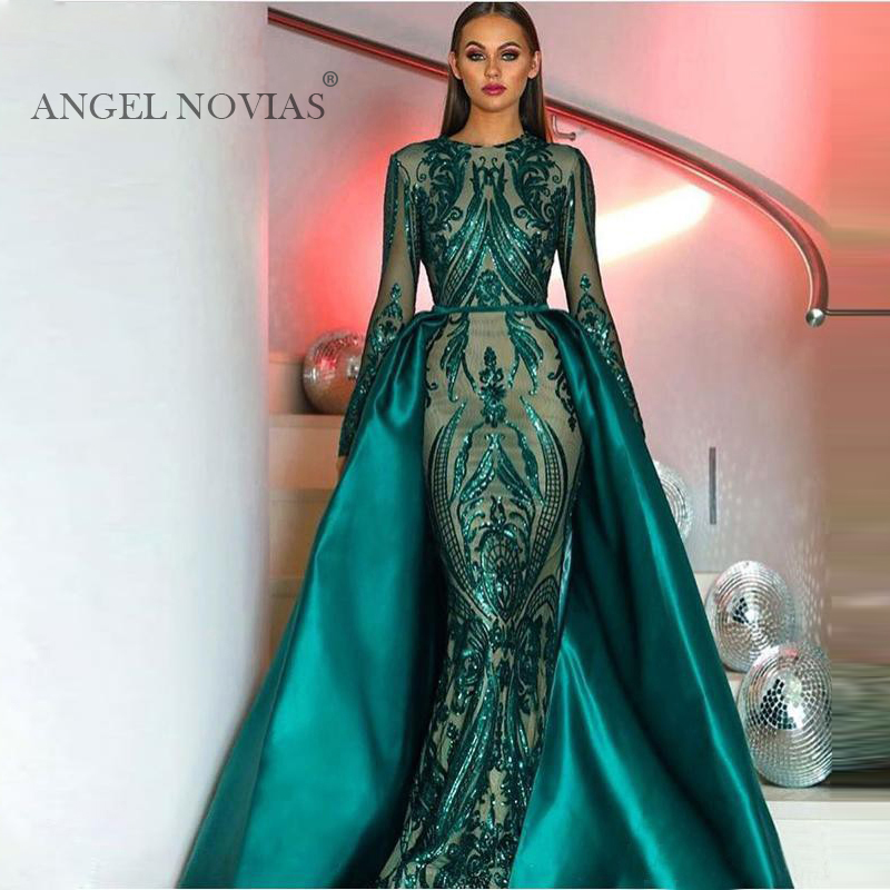 Elegant Muslim Green Long Sleeve Evening Dresses 2019 With Detachable Train Sequin Bling Moroccan Kaftan Formal Prom Party Gown