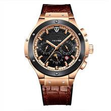 Tevise Mens Watch WristWatch Genuine Lea