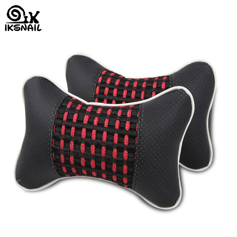 IKSNAIL New Car Seat Neck Pillow Casual Breathable Auto Rest Cushion Comfortable Soft Pillows Universal Leather Headrest