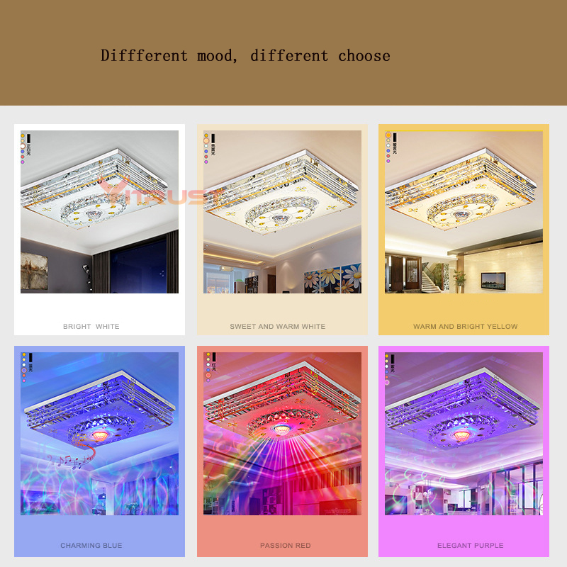 Mordern LED Crystal Ceiling Light Lamps RGB Dimmable 220V APP Bluetooth & Music Speaker Colorful Bedroom Living room Smart Lamp - 3