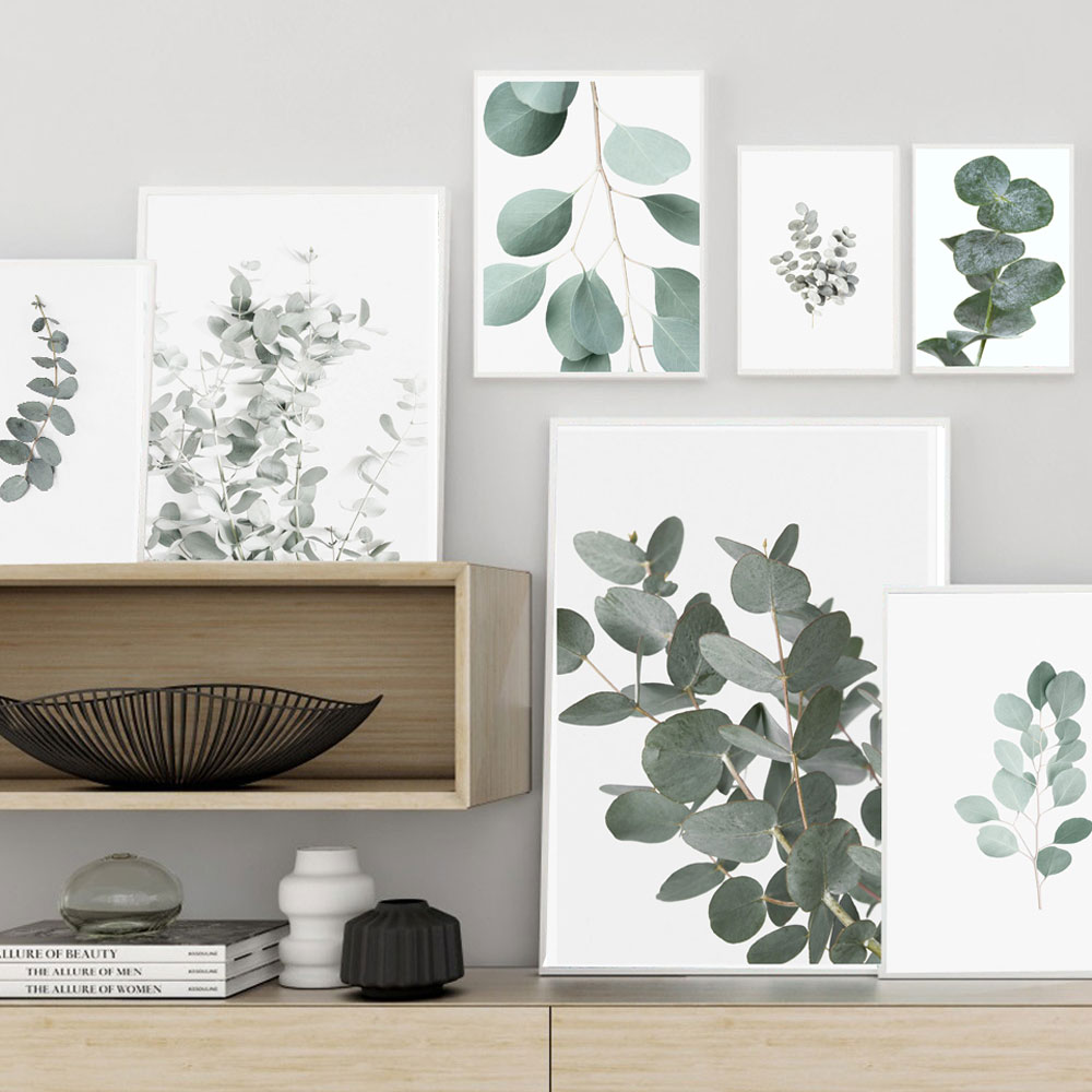 Eucalyptus Green Leaf Posters Botanical Canvas Painting Farmhouse Wall Decor Art Pictures Bedroom Decoration Scandinavian Decor image