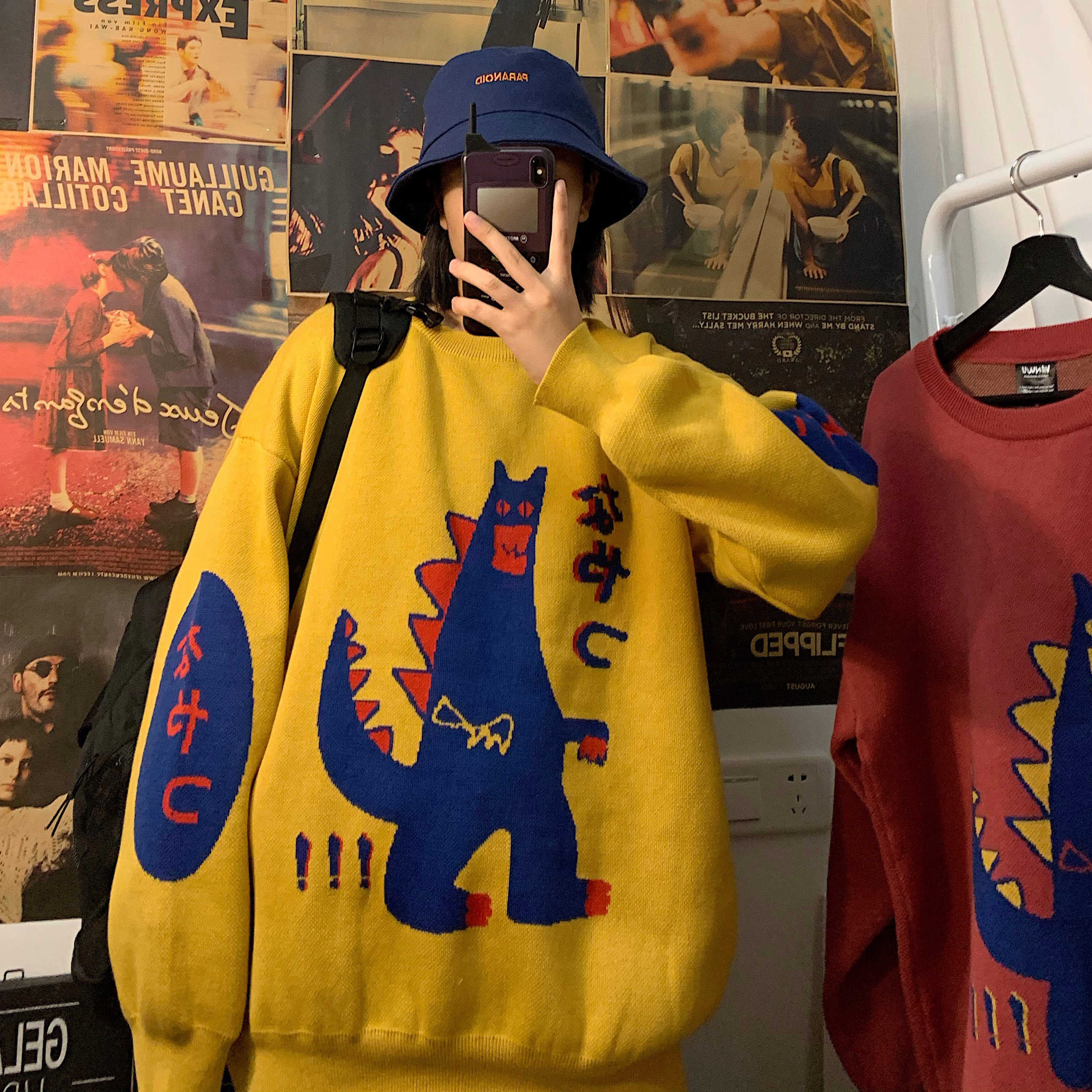 2019 Winter Men's Cartoon Embroidery Coats Cashmere Knitting Red/yellow Pullover Casual Keep Warm Loose Woolen Sweaters M-2XL