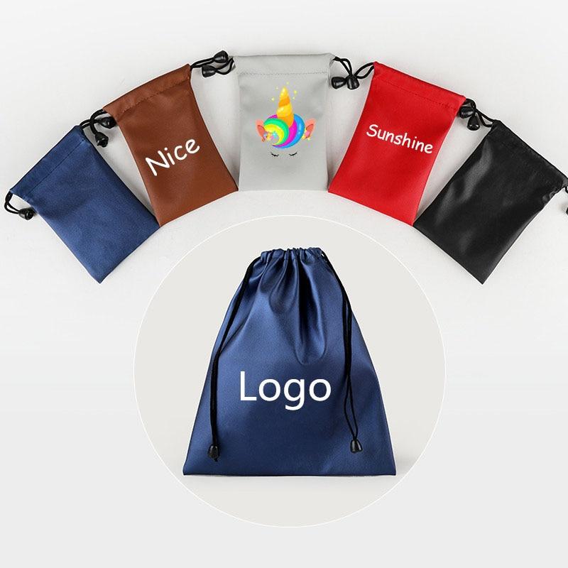 1 Pcs  14.5*20cm Customize Logo Fashion PU Leather Gift Bag Jewelry Pouch Drawstring Wedding Waterproof Organizer