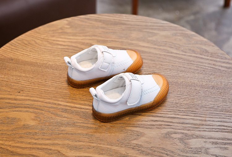 Spring Autumn England Style Baby Leather Shoes White Toddler Shoes Girl Letters Small Children Boys Sneakers Clear Flats C08262
