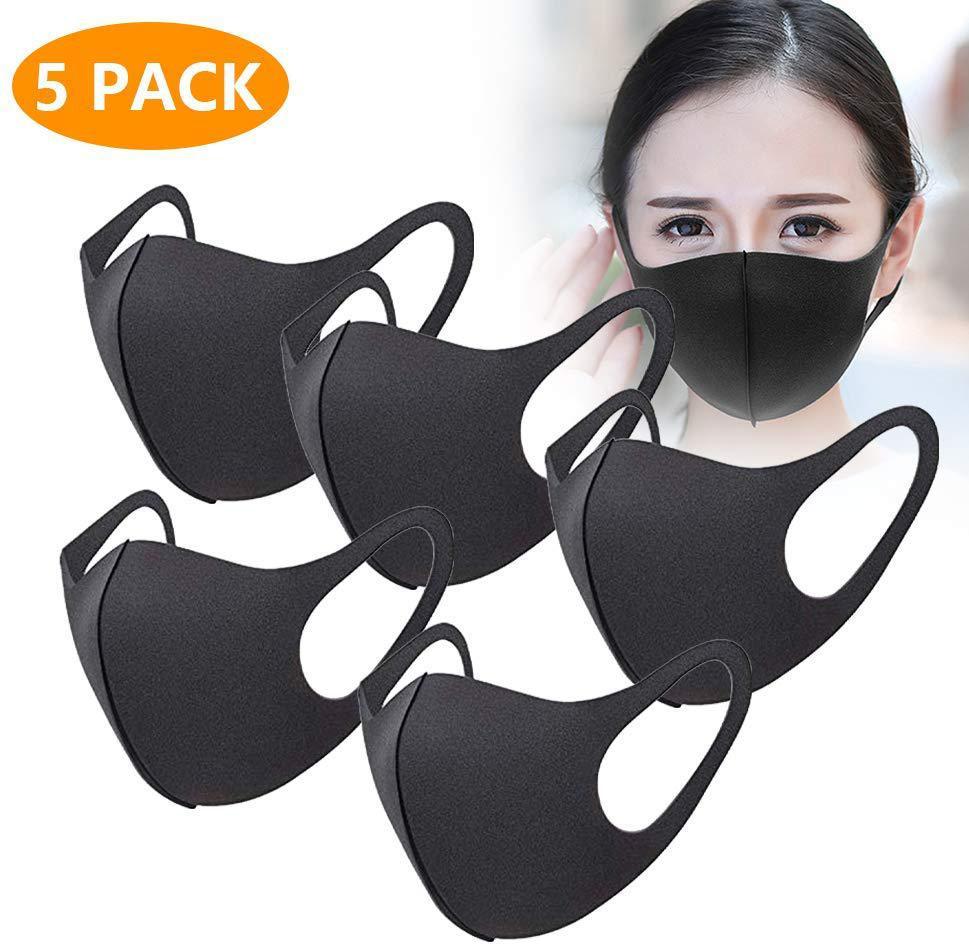 GloryStar 5pcs/10pcs Thin Face Sponge Mask Washable Breathable Reusable Windproof Dust-Resistant