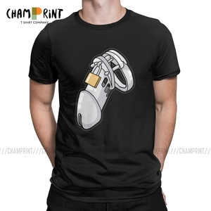 Men's BDSM Chastity Cage T Shirt Chastity Device Cuckold Slave Sub Penis Cage Clothing Fashion Crew Neck Tees Gift Idea T-Shirts(China)