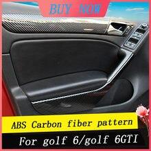 Autocollant de poignée de porte de voiture en fibre de carbone, ensemble complet pour conduite à gauche et à droite, garniture de changement de vitesse pour Golf 6/GTI