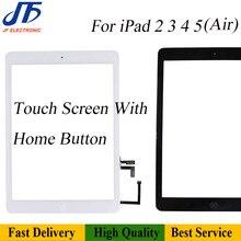 Piezas de repuesto para iPad 2, 3, 4, 5 / Air A1474, Digitalizador de pantalla táctil, montaje de panel, pantalla con botón de inicio, cable flexible, 10 Uds.