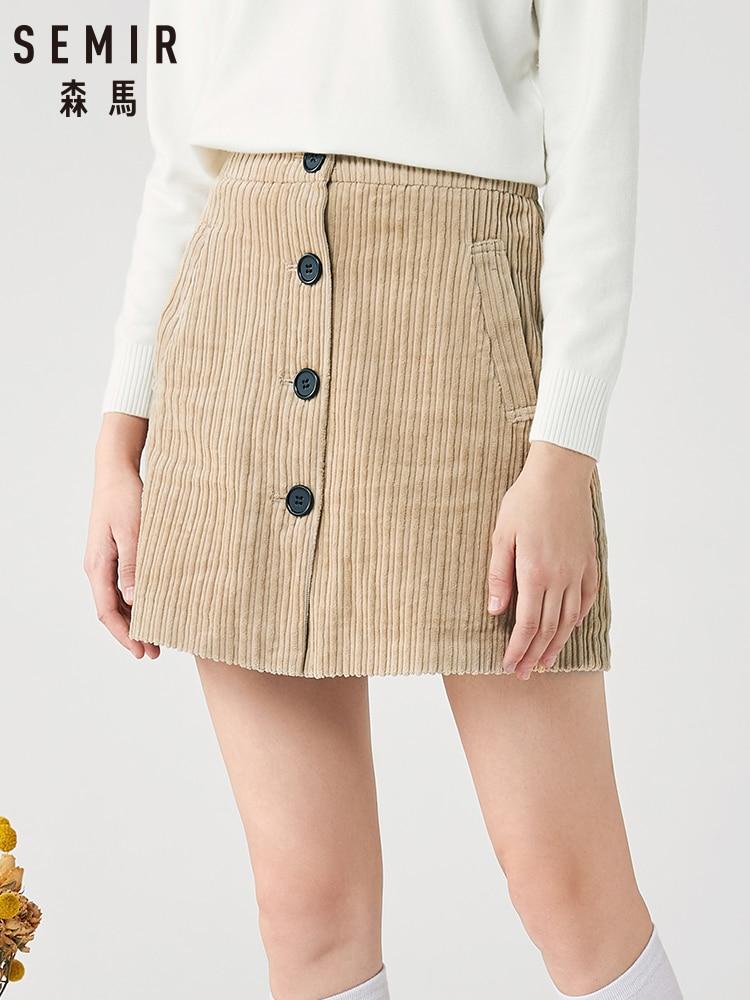SEMIR Corduroy Skirt Women 2019 Winter New Retro Single-breasted A Word Slim Cotton Skirt Ladies Sexy Skirts
