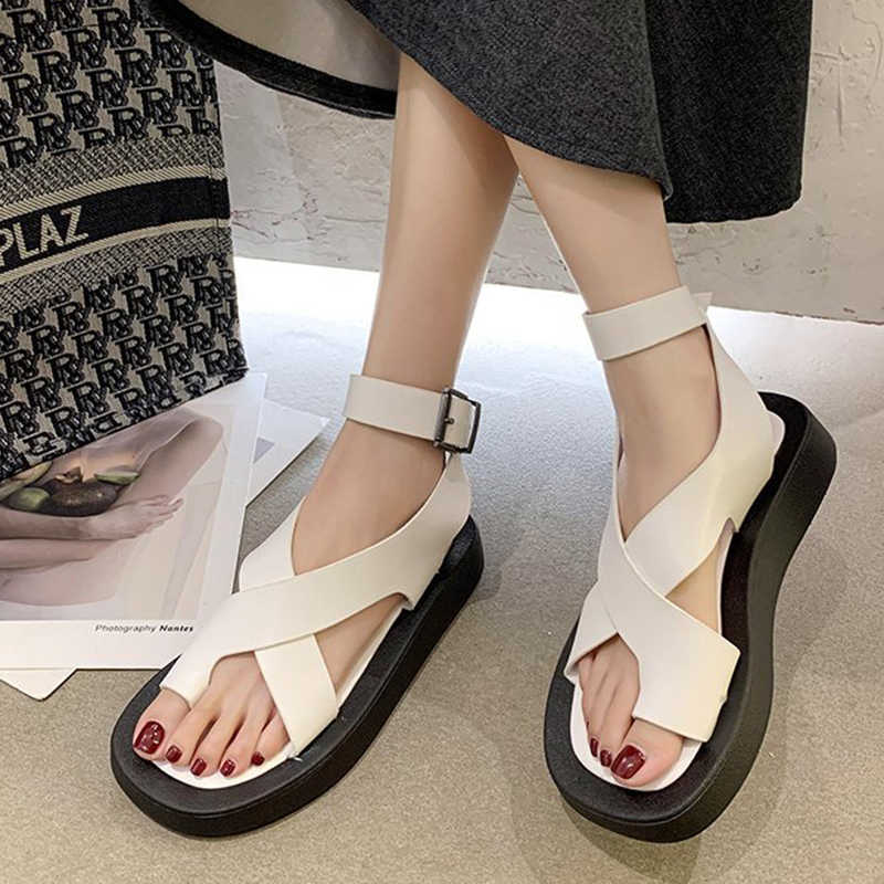 Rimocy White Leather Low Heel Sandals