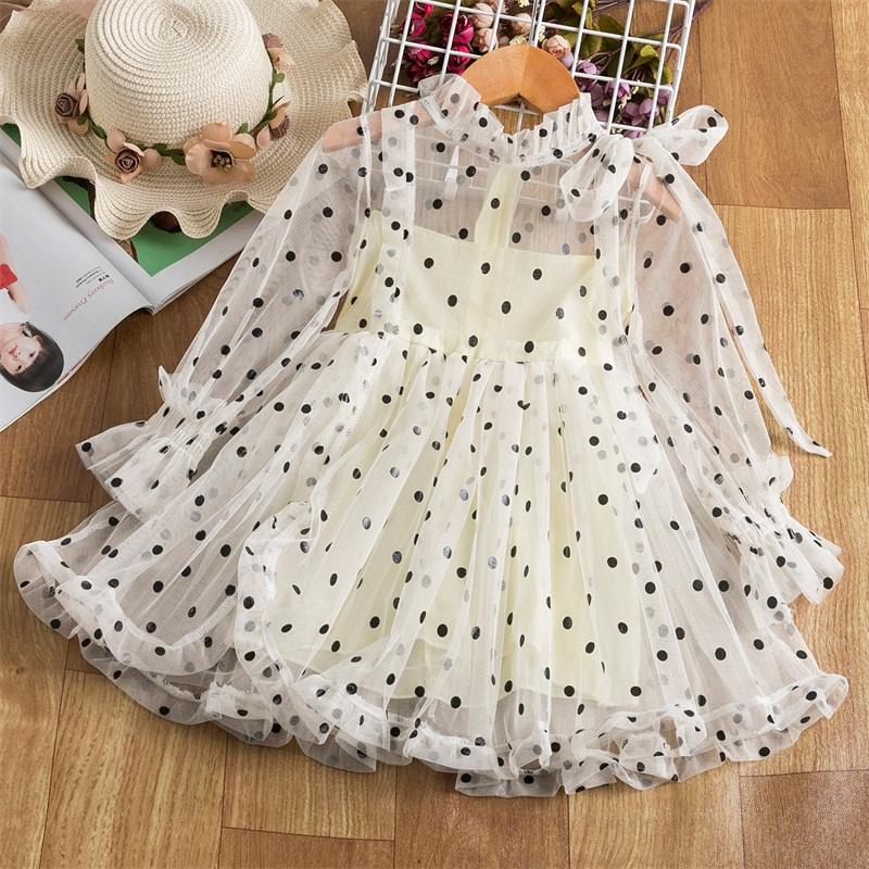 Lace Flower Girls Dress Princess Costume New Year Party Chidlren Clothing Spring Winter Long Sleeves Kids Dresses for Girls 2