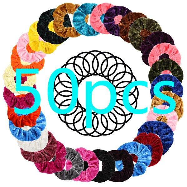 50 Pcs Velvet Scrunchie Women Girls Elastic Hair Rubber Bands Accessories Gum For Women Tie Hair Ring Rope Ponytail Holder 10.2