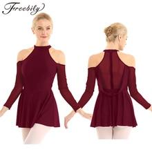 למבוגרים גבוהה צוואר לגזור כתף ארוך שרוולים רשת אחוי בלט התעמלות בגד גוף נשים איור החלקה על קרח שמלת ריקוד תלבושות