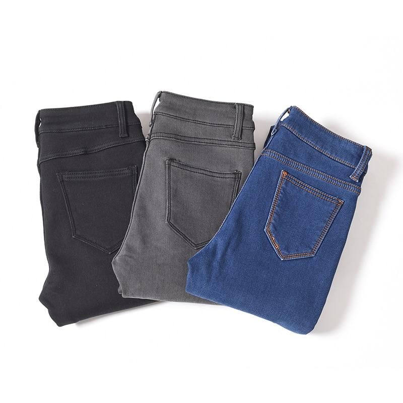 Caldo Inverno Più Il Formato Sottile Dei Jeans Delle Donne di Cotone Stretch Avanzata Del Denim Dei Pantaloni In Pile di Spessore Studente Pantaloni Blu Nero Grigio