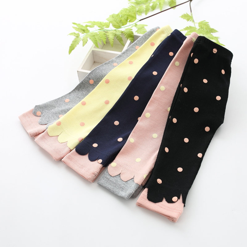 Spring Autumn Baby Girl Pants Cotton Knitting Dot Print Newborn Baby Trousers Infant Todler Leggings For 0-3T Baby Pants