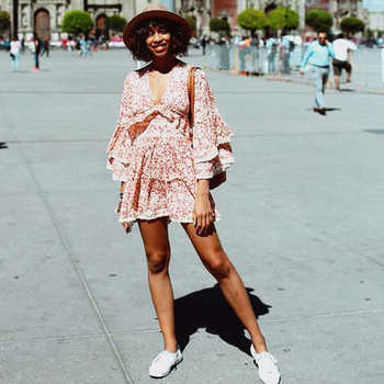 TEELYNN pink dress 2020 rayon long sleeve floral print autumn Dresses mini short women dresses garden party BOHO Dress vestidos