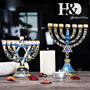 Image 3 - H & D 5 arten Chanukka schmucksachen blau Handgemalte Emaille Menorah Leuchter Chanukah Tempel Leuchter 9 Zweig Stern von David Kerze halter