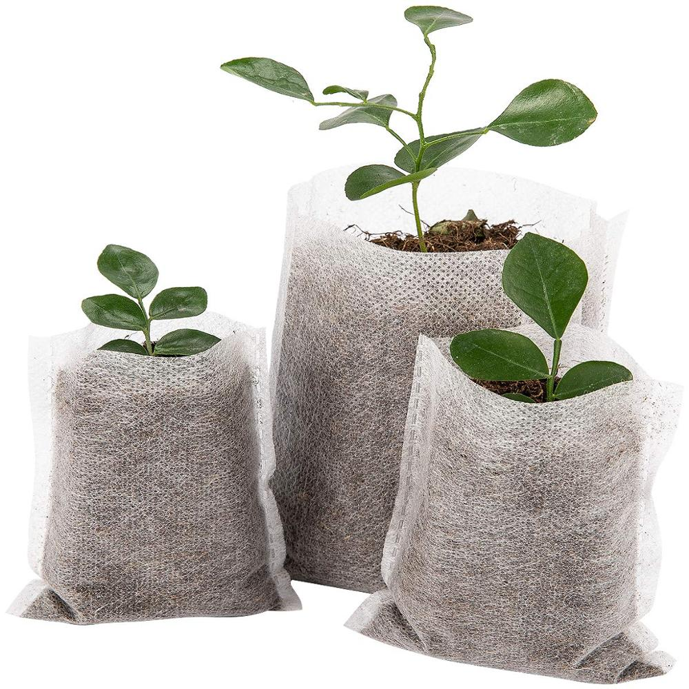 100PC Multi-size Biodegradable Non-woven Nursery Bags Plant Grow Bags Fabric Seedling Pots Eco-Friendly Aeration Planting Bags