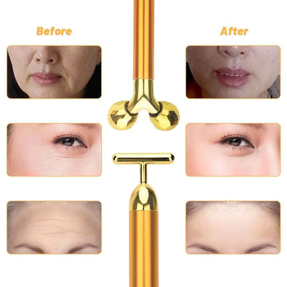 3 Di 1 Energy Beauty Bar 24 K Golden Bergetar Wajah Roller Massager Wajah Lifting Anti-Kerut Perawatan Kulit batu Permata Roller Ball
