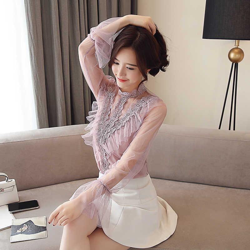 الكورية أزياء الشيفون النساء البلوزات مضيئة كم الوردي شبكة النساء قمصان زائد حجم XXL Blusas Femininas Elegante السيدات قمم