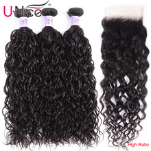 UNice Hair Kysiss Series Malaysian Water Wave Virgin Human Hair Extension 8-26inch 3 PCS Bundles with Closure Free Part(China)