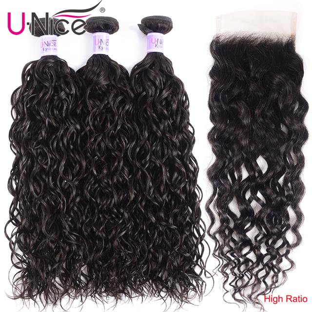 $ US $86.94 UNice Hair Kysiss Series Malaysian Water Wave Virgin Human Hair Extension 8-26inch 3 PCS Bundles with Closure Free Part