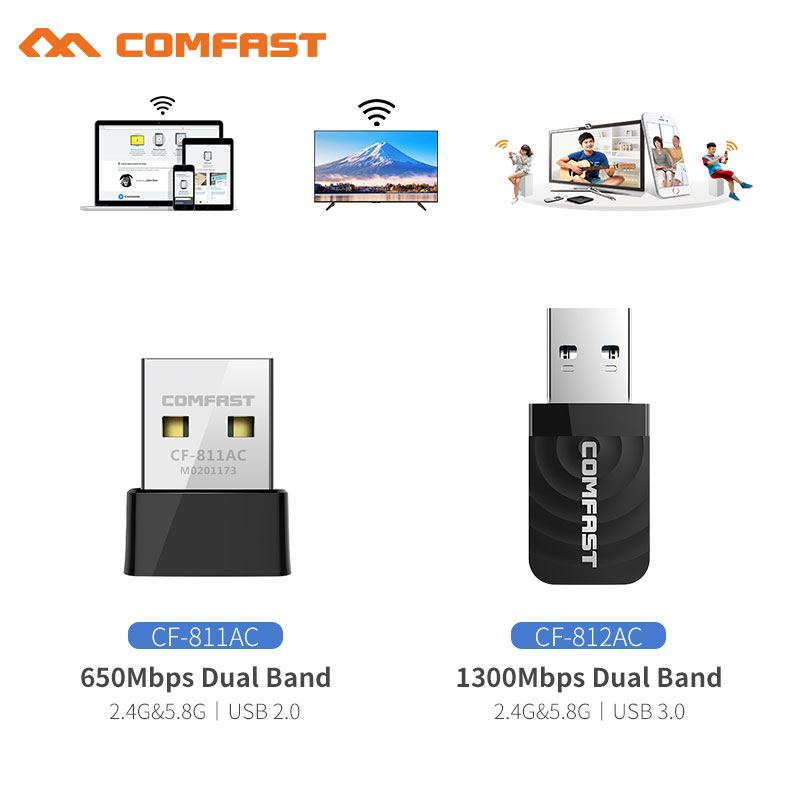 COMFAST Wireless USB Wifi Adapter AC 650 - 1300 Mbps Wi-fi Adapter 2.4G 5.8 Ghz Network Card Antenna PC Wi fi Lan Receiver(China)