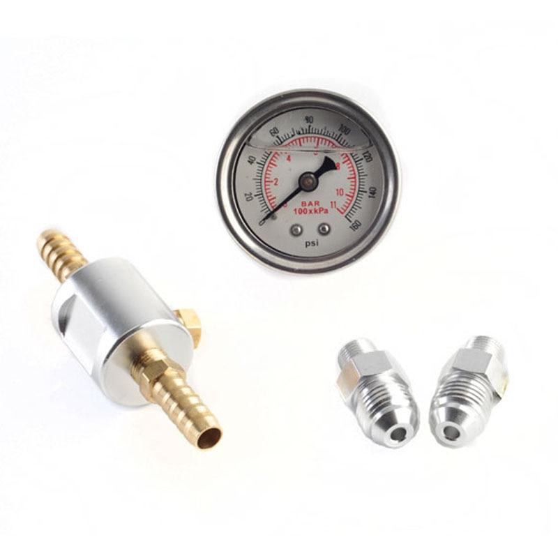 Универсальный манометр 1/8 NPT с жидкостным наполнителем, полированный чехол 0-160 psi и набор адаптеров для топливных систем