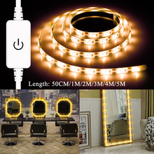 Uni Eropa US Adaptor Makeup Cermin Rias Lampu Strip Usb 12V Hollywood Espejo Luces Maquillaje LED Meja Rias Dimmable Lampu tape(China)