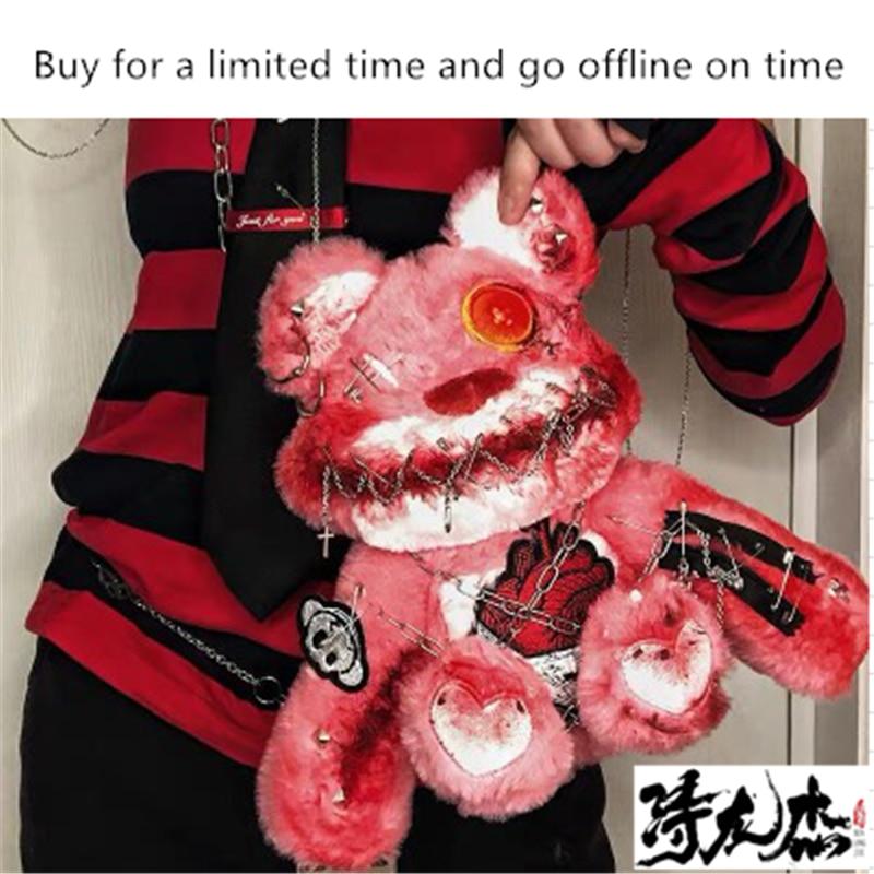 Dark Gothic Lolita Bear Doll Bag Cool Blood Gauze Yandere Gloomy Embroidery Shoulder Bags Soft Girl Goth Cosplay Crossbody Bag