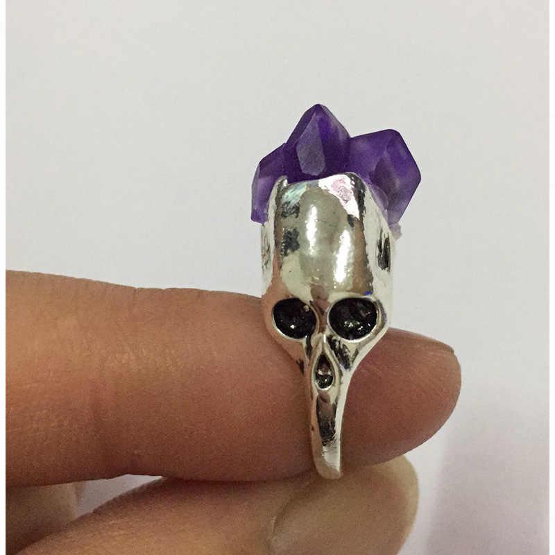 Mulheres Anéis de Punk Taro de Cristal Pedra Natural Prata Anéis Moda Boêmia Acessórios Partido Jóias Tamanho 6 7 8 9 10