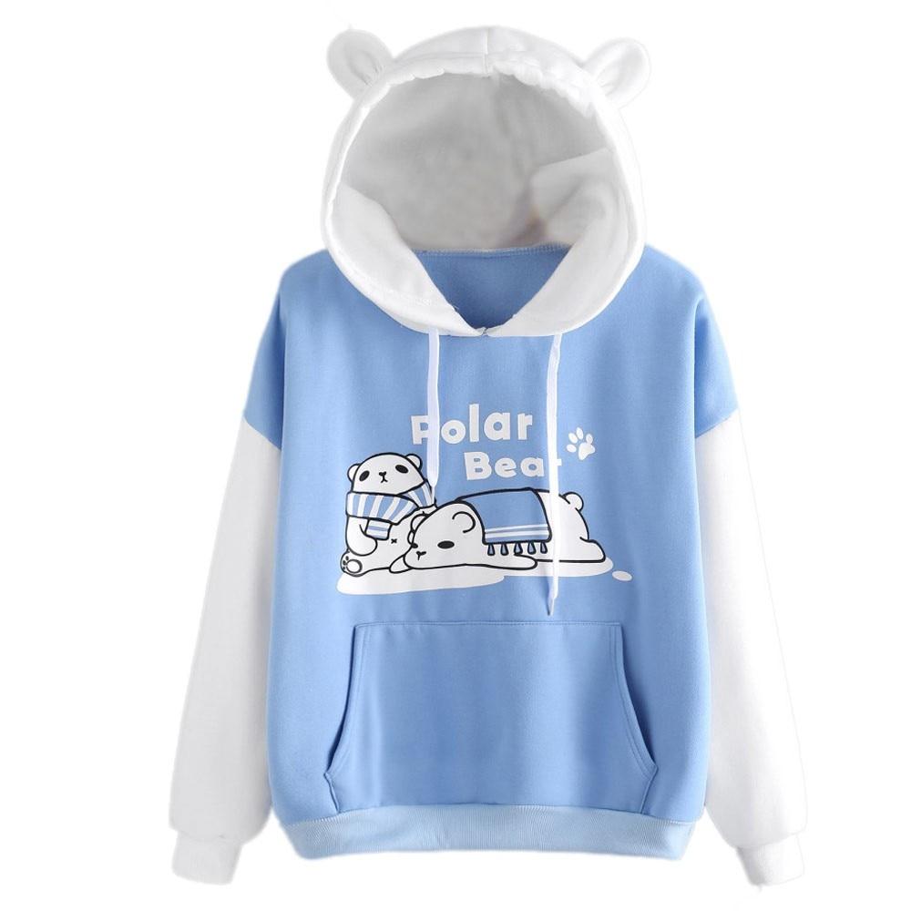 sudadera mujer 2020 Womens Hoodie Blouse Autumn Long Sleeve Sweatshirt Loose Animal Print Pocket Hoodie толстовка женская