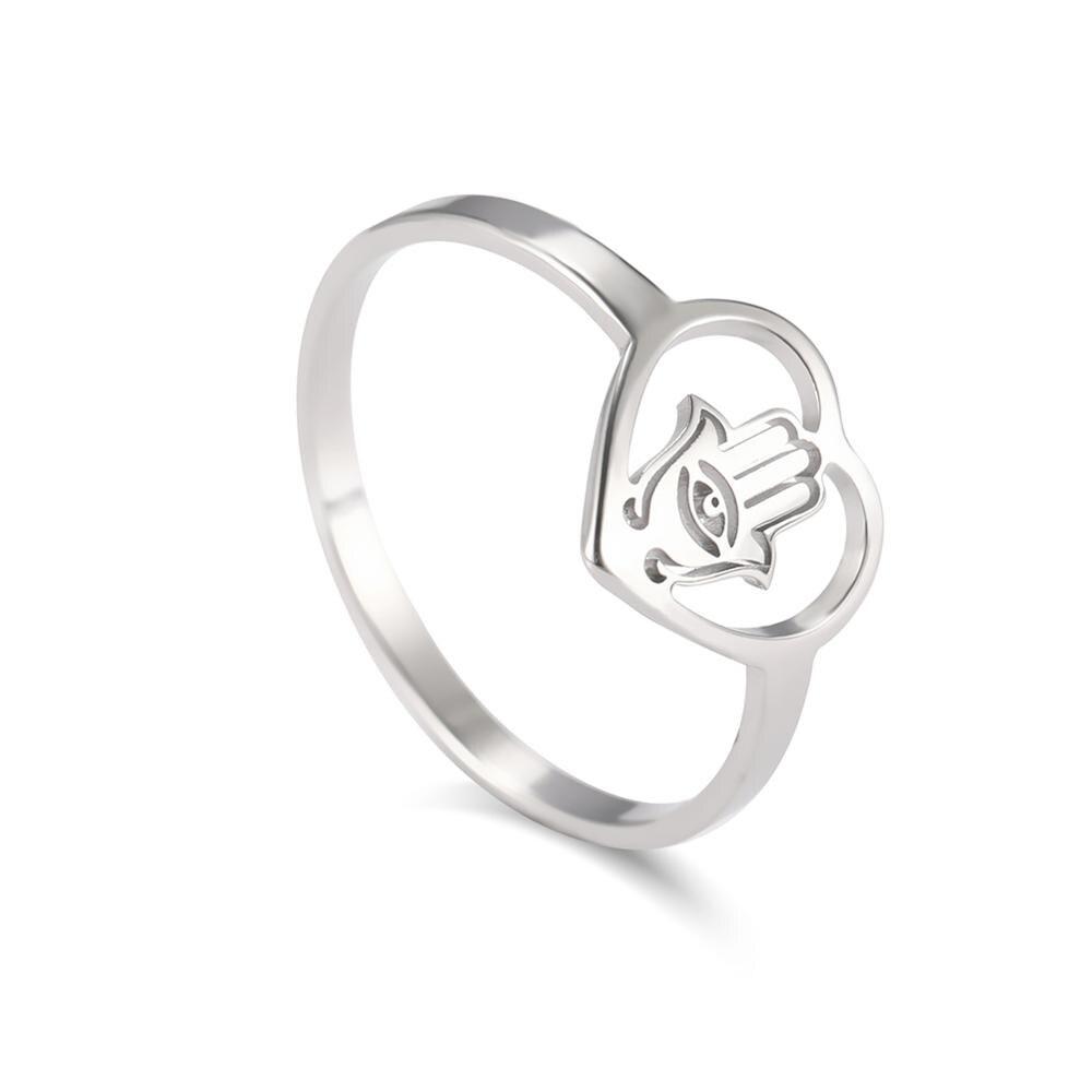 Skyrim Evil Eye Hamsa Hand Heart Ring Women Jewish Hamesh Amulet Fatima Palm Stainless Steel Casual Rings Jewelry Birthday Gift