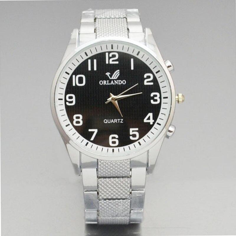 New Men's Business Watch For Sale Men's Quartz Wristwatch Orlando Fashion Men Watches White Dial Steel Band Mens Watches Relojes