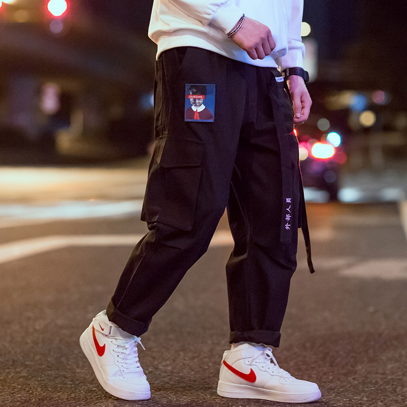 COURSEMYS Hip Hop Streetwear Cargo Pants Men Women Ribbon Embroidery Japanese Harajuku Joggers Trousers Casual Harem Pants Male