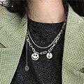 Foxanry 925 Sterling Silber Vintage Hohl Halskette für Frauen Neue Mode Smiley Gesicht Dick Kette Thai Silber Partei Schmuck