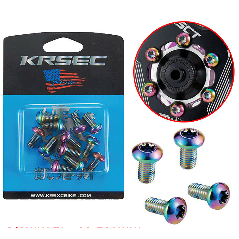 12pcs M5x10mm Disk Brake Rotor Bolts Titanium Mountain Bike Brakes Disc Rotor Screw Ultralight Bettery Bike Brake Accessories