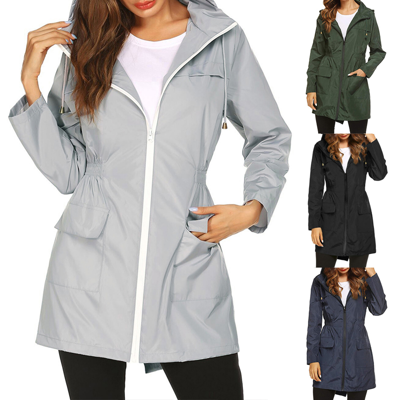 Vertvie Women Hooded Windcoat Raincoat Outdoor Hiking Coat Long Sports Jacket Autumn Warm Outwear Camping Coat Light Weight