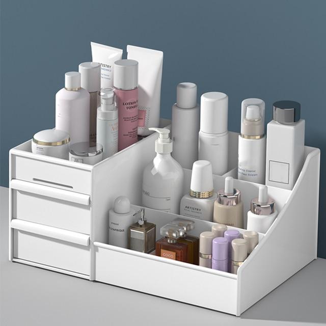 メイクアップオーガナイザー化粧品大容量化粧品収納ボックスオーガナイザーデスクトップジュエリー化粧引き出しコンテナ