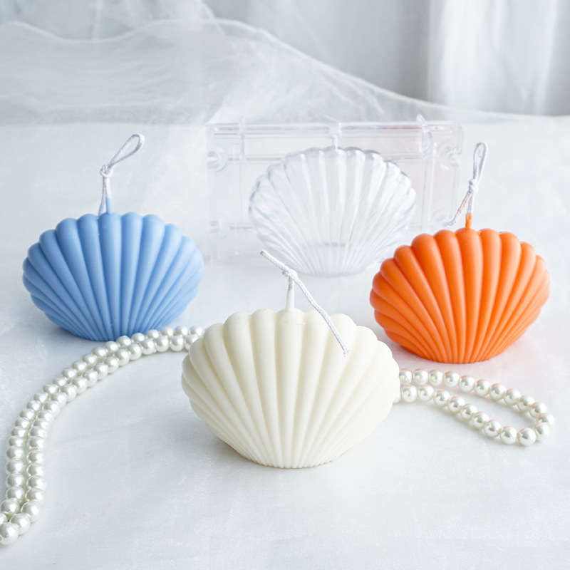 3D Shell Candle Mould Handmade Candle Making Seashell Aromatherapy Plaster Molds Scented Candle Mold Plastic Scallop Soap Mold
