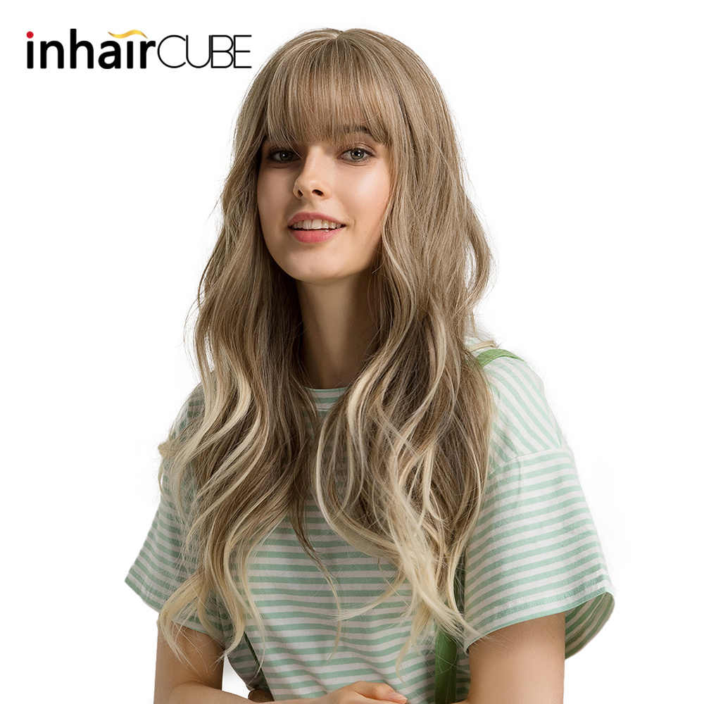 Inhaircube 24''Women Synthetic Wigs Long Wavy Ombre Brown Blond with Fluffy Air Bangs Light Hair Free Shipping